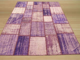 Lavender Transitional Turkish Patch Rug, 6'7 x 8'7