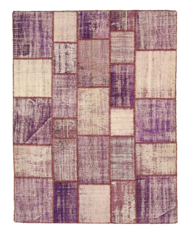 Hand-knotted Wool Lavender Transitional Oriental Turkish Patch Rug (6'7 x 8'7)