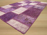 Purple Transitional Turkish Patch Rug, 4'6 x 7'4