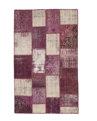 Hand-knotted Wool Purple Transitional Oriental Turkish Patch Rug (4'6 x 7'4)