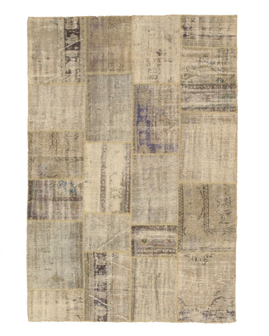 Hand-knotted Wool Transitional Oriental Turkish Patch Rug (5'9 x 8'6)