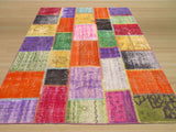 Multicolored Transitional Turkish Patch Rug, 6' x 8'