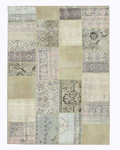 Hand-knotted Wool Transitional Oriental Turkish Patch Rug (5'9 x 8'2)
