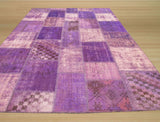 Lavender Transitional Turkish Patch Rug, 6'9 x 10'2