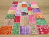 Multicolored Transitional Turkish Patch Rug, 6'6 x 9'7