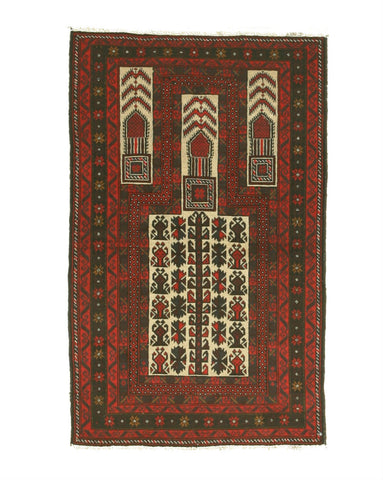 Hand-knotted Wool Ivory Traditional Geometric Baluchi Rug (2'11 x 4'9)
