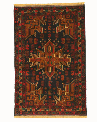 Hand-knotted Wool Blue Traditional Oriental Baluchi Rug (3'9 x 5'9)
