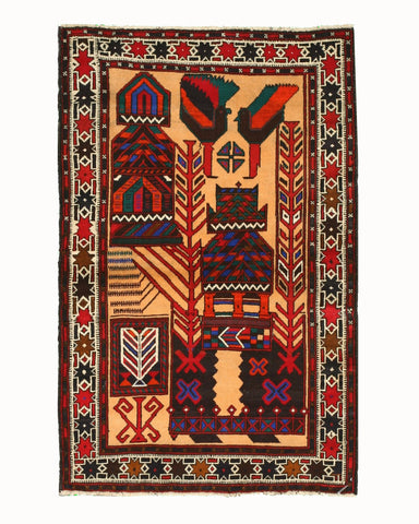 Hand-knotted Wool Navy Traditional Oriental Baluchi Rug (2'11 x 4'8)