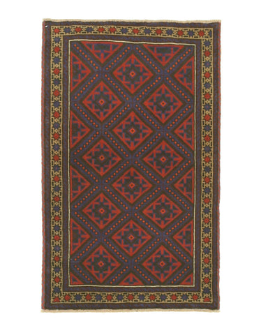Hand-knotted Wool Red Traditional Geometric Baluchi Rug (2'8 x 4'5)