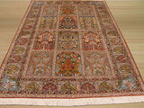Multicolored Traditional Panel Qum Rug, 4'2 x 5'11