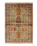 Hand-knotted Silk Traditional Oriental Panel Qum Rug (4'2 x 5'11)