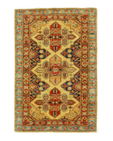 Hand-knotted Wool Ivory Traditional Geometric Super Kazak Rug (2'9 x 4'2)