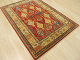 Red Traditional Super Kazak Rug, 3'6 x 5'1