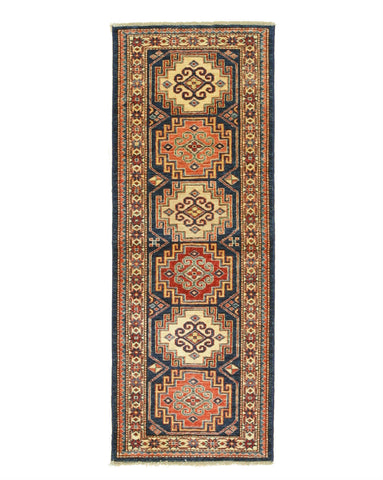Hand-knotted Wool Navy Traditional Geometric Super Kazak Rug (2'3 x 6')