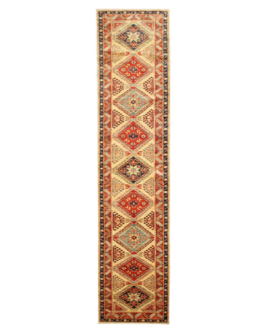 Ivory Traditional Super Kazak Rug, 2'9 x 12'