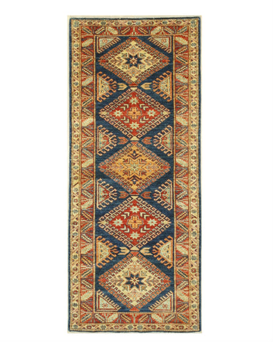 Hand-knotted Wool Blue Traditional Geometric Super Kazak Rug (2'11 x 6'11)