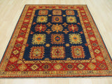 Navy Traditional Super Kazak Rug, 6'2 x 7'3