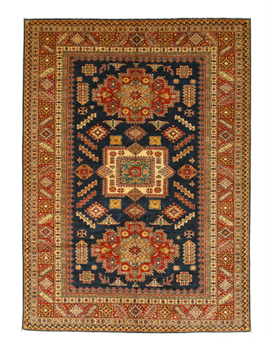 Hand-knotted Wool Navy Traditional Geometric Super Kazak Rug (6'11 x 9'7)