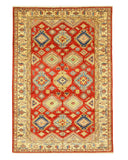 Hand-knotted Wool Red Traditional Geometric Super Kazak Rug (6'8 x 9'11)