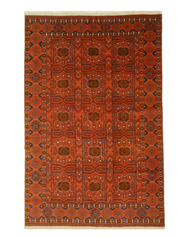 Hand-knotted Wool Rust Traditional Geometric Bokhara Rug (6'5 x 9'11)