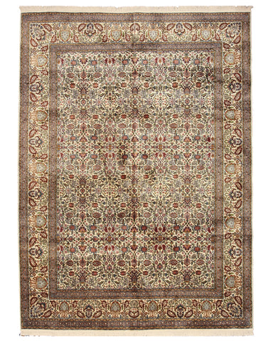 Hand-knotted Silk Ivory Traditional Oriental Tabriz Rug (7'2 x 10')