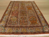 Multicolored Traditional Panel Qum Rug, 4' x 6'1