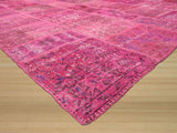 Pink Transitional Turkish Patch Rug, 9'1 x 12'1