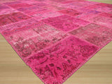 Pink Transitional Turkish Patch Rug, 8'11 x 11'11