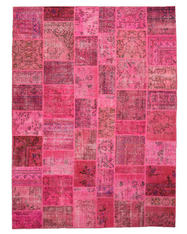 Hand-knotted Wool Pink Transitional Oriental Turkish Patch Rug (8'11 x 11'11)