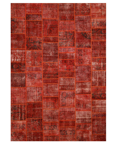 Hand-knotted Wool Red Transitional Oriental Turkish Patch Rug (10' x 14'2)