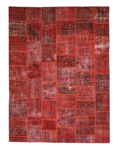 Hand-knotted Wool Rust Transitional Oriental Turkish Patch Rug (9' x 12')