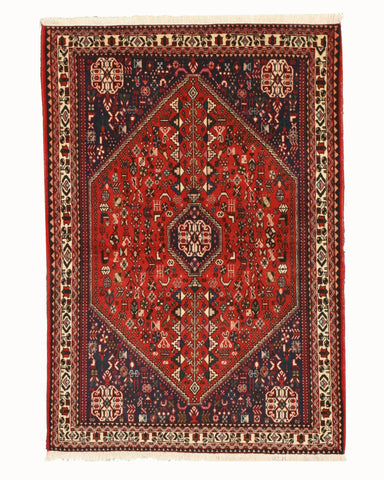 Hand-knotted Wool Rust  Traditional Oriental Abadeh Rug (3'6 x 5'1)