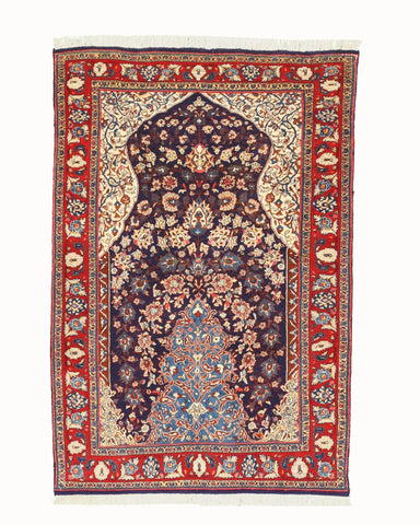 Hand-knotted Wool Navy Traditional Oriental Sarouk Rug (3'5 x 5'3)