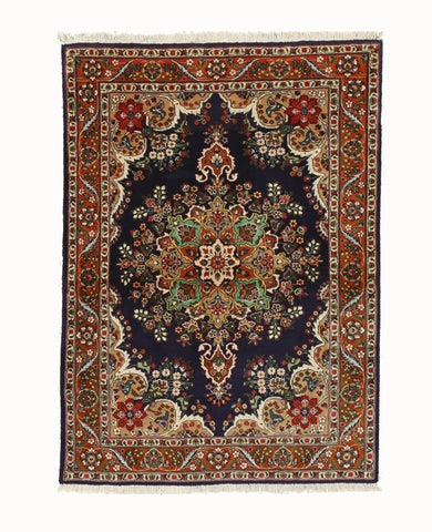 Hand-knotted Wool Navy Traditional Oriental Tabriz Rug (3'6 x 4'9)