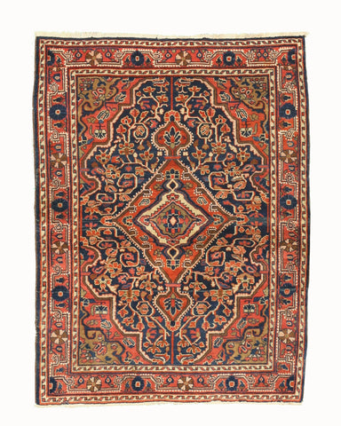 Hand-knotted Wool Navy Traditional Oriental Bidjar Rug (3'7 x 4'10)