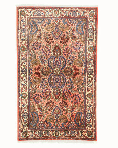 Hand-knotted Wool Pink Traditional Oriental Sarouk Rug (3'2 x 4'5)