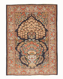 Hand-knotted Wool Navy Traditional Oriental Kerman Rug (3'8 x 5'2)