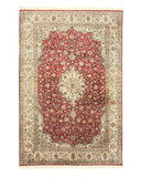 Hand-knotted Silk Red Traditional Oriental Tabriz Rug (5'6 x 8'3)