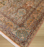 Peach Traditional Tabriz Rug, 6'1 x 8'8