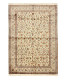 Hand-knotted Silk Ivory Traditional Oriental Kashmir Rug (6'2 x 8'9)