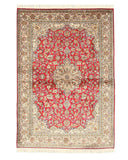 Hand-knotted Silk Red Traditional Oriental Kashmir Rug (4'2 x6')