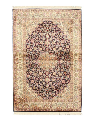 Hand-knotted Silk Navy Traditional Oriental Kashmir Rug (4'1 x 6'1)