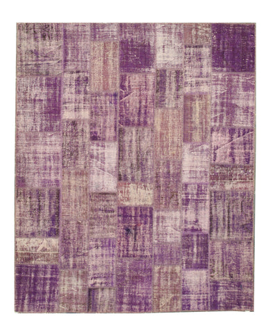 Hand-knotted Wool Purple Transitional Oriental Turkish Patch Rug (8'6 x 10'4)