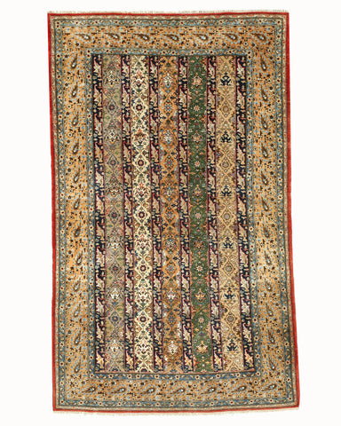 Hand-knotted Wool & Silk Traditional Oriental Shawl Qum Rug (5'3 x 8'9)