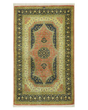 Hand-knotted Silk Rust Traditional Oriental Qum Rug (2'5 x 4'0)
