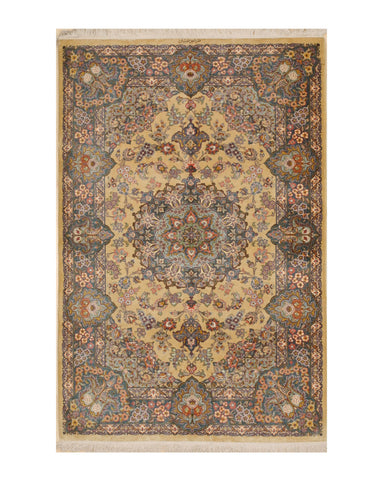 Hand-knotted Silk Gold Traditional Oriental Qum Rug (3'4 x 5')