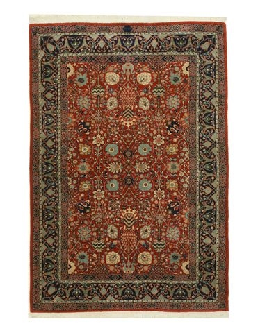 Hand-knotted Wool Rust Traditional Oriental Indo-Moghul Rug (6'8 x 9'8)