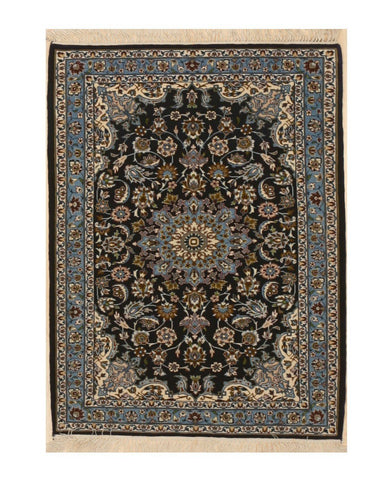 Hand-knotted Wool Blue Traditional Oriental Esfahan Rug, 2'5 x 3'2