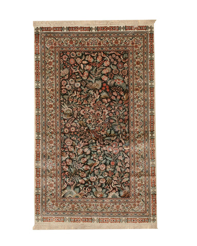 Hand-knotted Silk Black Traditional Oriental Tabriz Rug, 3'4 x 8'
