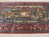 Green Traditional Pictorial Tabriz Rug, 3' x 5'